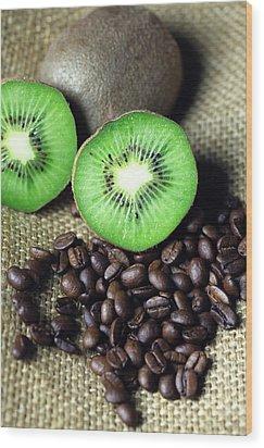 Kitchen Pictures Coffee Beans Kivi Wood Print by Falko Follert