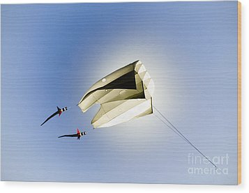Kite And The Sun Wood Print by David Lade