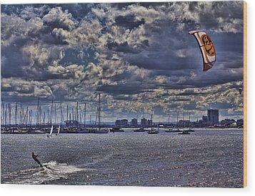 Kite Surfing At St Kilda Beach Wood Print by Douglas Barnard
