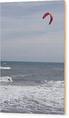 Kiteboarder With Kite In The Waves Wood Print by Skip Brown