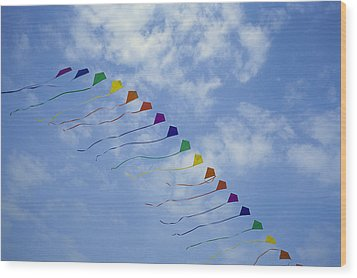 Kites Fly In A Rainbow Of Colors Wood Print by Stephen Alvarez
