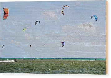 Kites Over The Bay Wood Print by David Lee Thompson