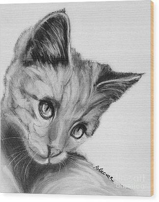 Kitten Cameo Wood Print by Susan A Becker