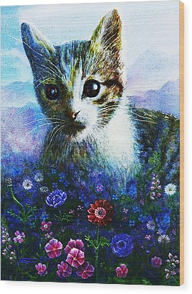 Wood Print featuring the mixed media Kitten by Hartmut Jager