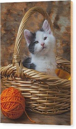 Kitten In Basket With Orange Yarn Wood Print by Garry Gay