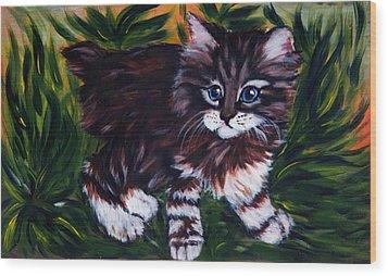 Kitty Wood Print by Elena Melnikova