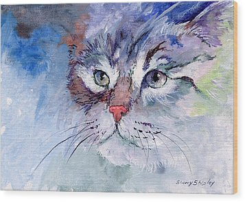 Kitty In Blue Wood Print by Sherry Shipley