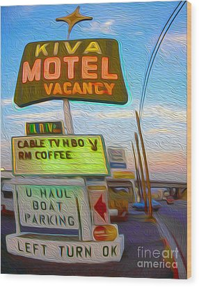 Kiva Motel - Needles Ca Wood Print by Gregory Dyer