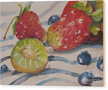 Kiwi And Berries Wood Print by Delilah  Smith
