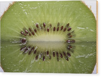 Kiwi Fruit Reflected On Glass Wood Print by Mark Duffy