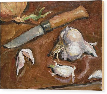 Knife And Garlic Wood Print by Thor Wickstrom