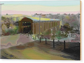Knights Ferry Covered Bridge Wood Print by Charles Shoup