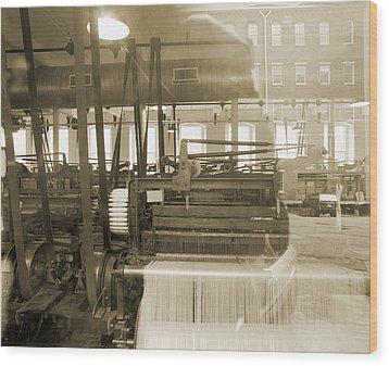 Knitting Machiens Lowell Wood Print by Jan W Faul