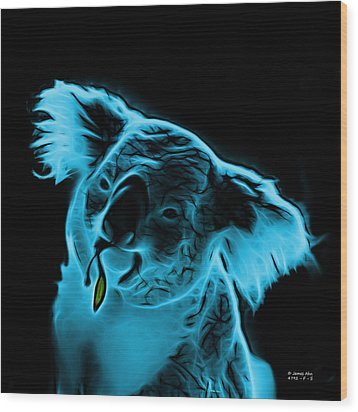 Koala Pop Art - Cyan Wood Print by James Ahn
