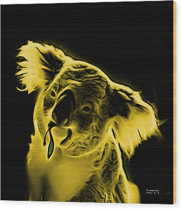Koala Pop Art - Yellow Wood Print by James Ahn