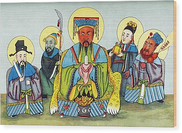 Koan-kong, Chinese God Of Riches Wood Print by Sheila Terry