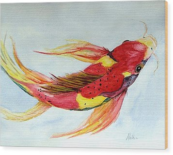Wood Print featuring the painting Koi by Alethea McKee
