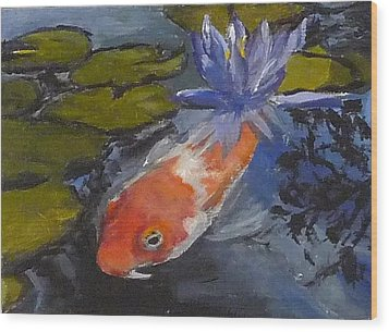 Koi And Lily Wood Print by Jessmyne Stephenson