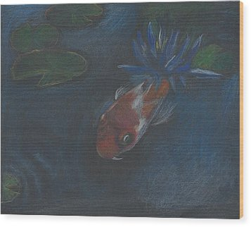 Koi And Water Lily Wood Print by Jessmyne Stephenson