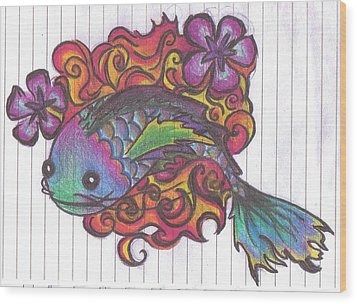 Koi Fish Wood Print by Stephanie Ellison