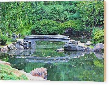 Koi Pond Pondering - Japanese Garden Wood Print by Bill Cannon