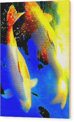 Koi Story Two A Wood Print by Randall Weidner