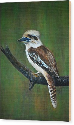 Wood Print featuring the painting Kookaburra by Lynn Hughes