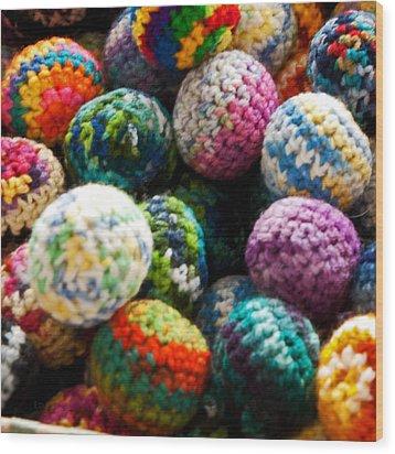 Koosh Ball Rainbow Wood Print