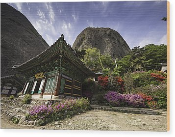 Korean Buddhist Temple With Flowers And Mountains Wood Print by Thomas Arthur