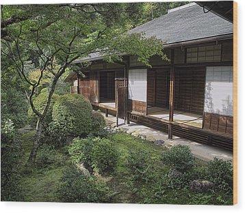 Koto-in Zen Tea House And Garden - Kyoto Japan Wood Print by Daniel Hagerman