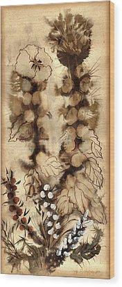 Kotsim Thorny Desert Plants In Brown Flowers Leaves Monochrome White   Wood Print by Rachel Hershkovitz