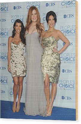 Kourtney Kardashian, Khloe Kardashian Wood Print by Everett