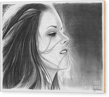 Kristen Stewart Wood Print by Crystal Rosene