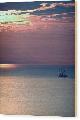 Kusadasi Sunset Wood Print by Steve Mangan