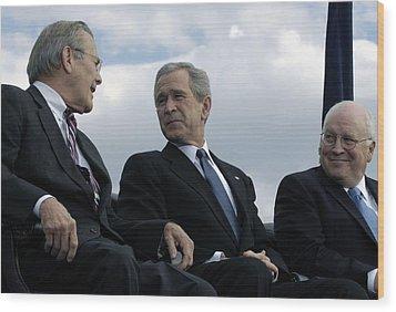 L To R Sec. Of Defense Donald Rumsfeld Wood Print by Everett