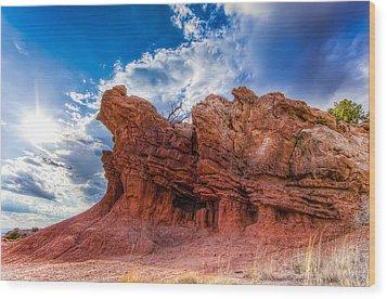 Wood Print featuring the photograph La Bajada Hills by Anna Rumiantseva