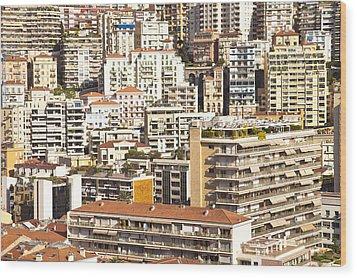 La Condamine And Moneghetti Districts, Monaco Wood Print by Carlos Sanchez Pereyra
