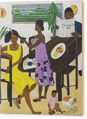 La Famille Wood Print by Nicole Jean-Louis