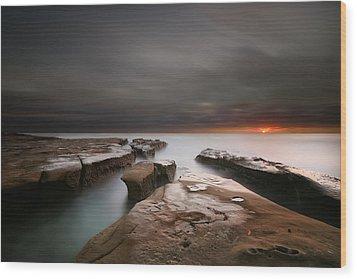 La Jolla Reef Sunset Wood Print by Larry Marshall
