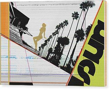 LA Wood Print by Naxart Studio