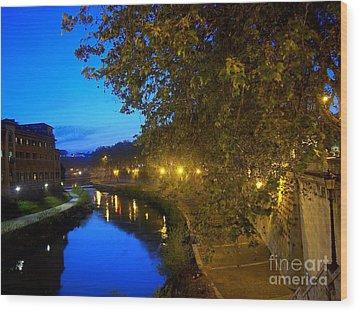 la notte sul Tevere dal Ponte Fabricio Wood Print
