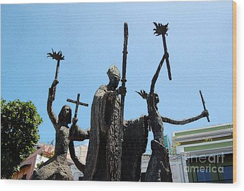 La Rogativa Statue Old San Juan Puerto Rico Ink Outlines Wood Print by Shawn O'Brien