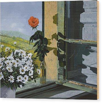 La Rosa Alla Finestra Wood Print by Guido Borelli