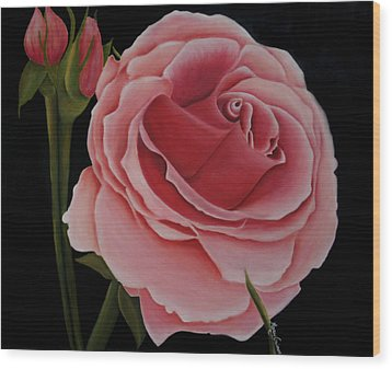 La Rosa  Wood Print by Mary Gaines