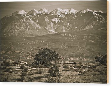 La Sal Mountains Utah Wood Print by Marilyn Hunt