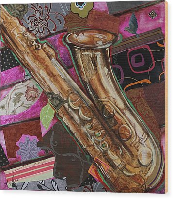 La The Sax Wood Print