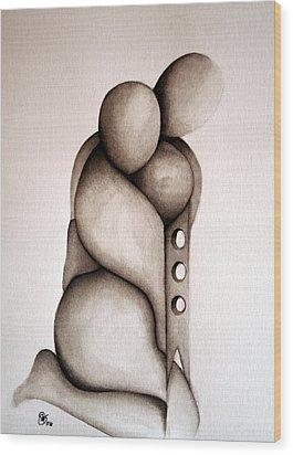 L'abbraccio 2011 Wood Print by Simona  Mereu