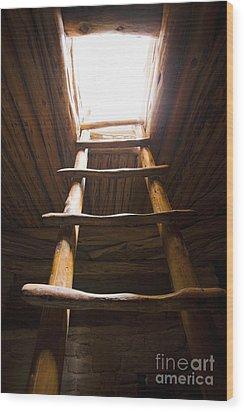 Ladder Of A Native American Cliff Dwelling Wood Print by Bryan Mullennix