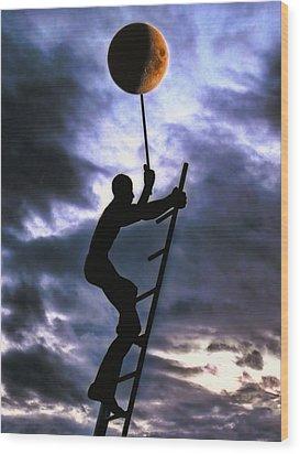 Ladder To The Moon Wood Print by Joachim G Pinkawa