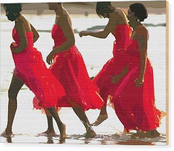 Ladies In Red Wood Print
